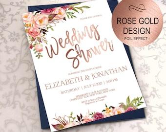 Wedding Shower Invitation, Blush Rose Gold Shower Invite, Bridal Shower Invitations, Wedding Printable, DIY PDF Instant Download| VRD164BHRR