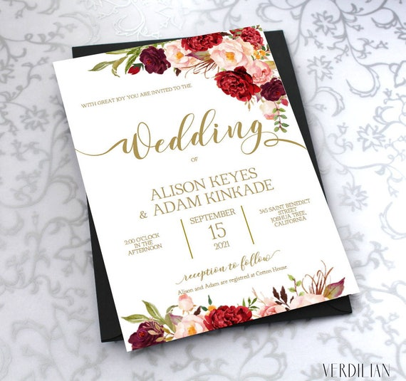 Watercolor Floral Burgundy Gold Wedding Invitation Template Etsy