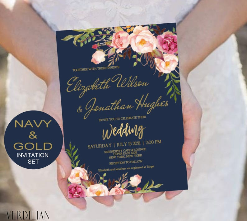 Red And Pink Wedding Invitations: Blush Navy Gold Wedding Invitation Template Set Pink