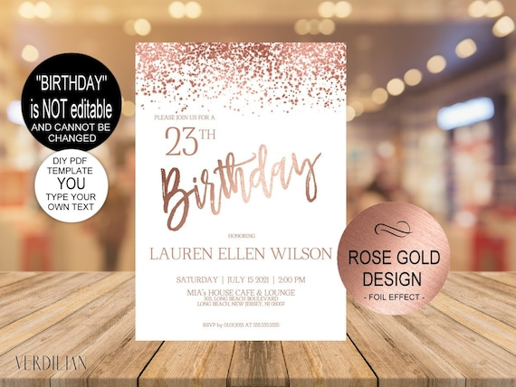 Any Age Birthday Invitation Printable Template Editable