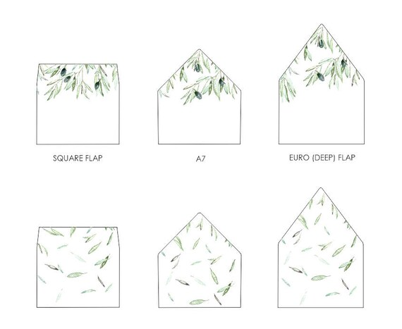 Olive Leaves Envelope Liner Template A7 Euro Flap Square Etsy