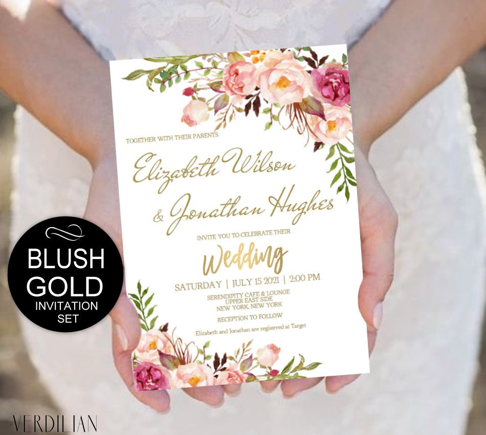 Blush Gold Wedding Invitation Template Set Pink Flowers