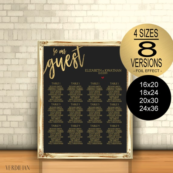 Be Our Guest Seating Chart Printable Template Black Gold Wedding Seating Chart Diy Editable Pdf Download Instantly Vrd110gbyk