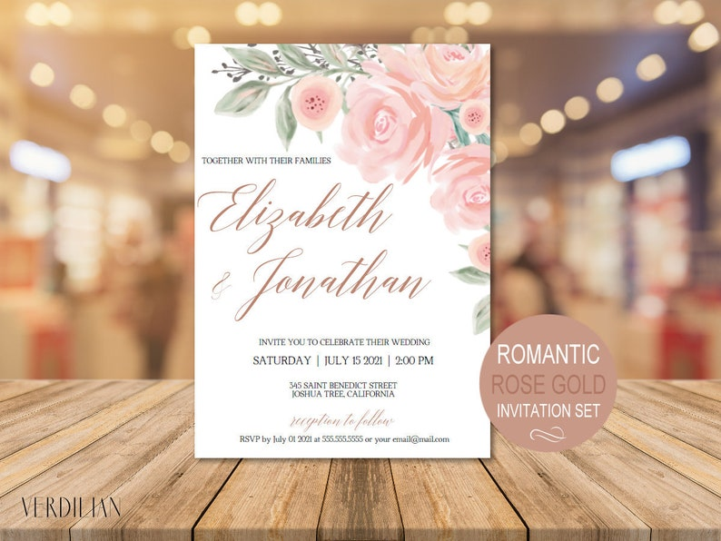 Romantic Blush Rose Gold Wedding Invitation Template Set Watercolor Floral Invite DIY Printable Invitations PDF Instant Download