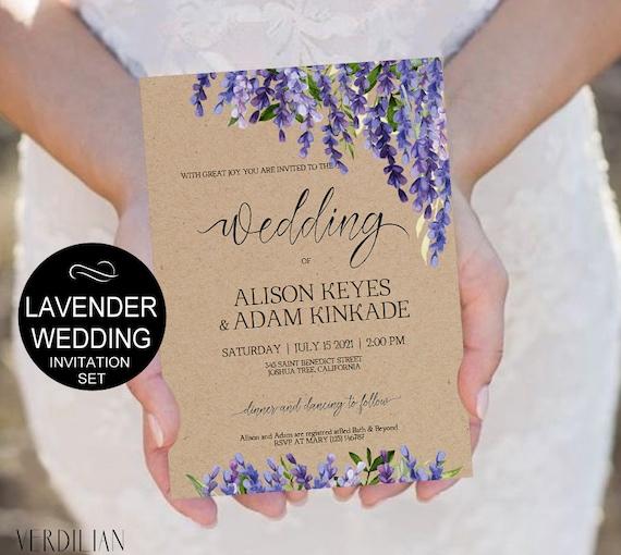 Lavender Wedding Invitation Template Set Purple Flowers Watercolor Kraft Invite DIY Printable Invitations PDF Download Instantly