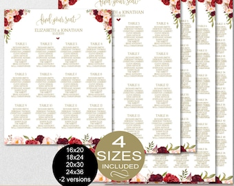 Seating Chart Template, Wedding Floral Burgundy Peonies Seating Chart Printable - DIY Editable PDF-DOWNLOAD Instantly   VRD137NWG