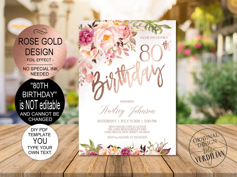 DIY 80th Birthday Invitation Template Blush Rose Gold Floral Party For WomenPrintable PDF Instant Download