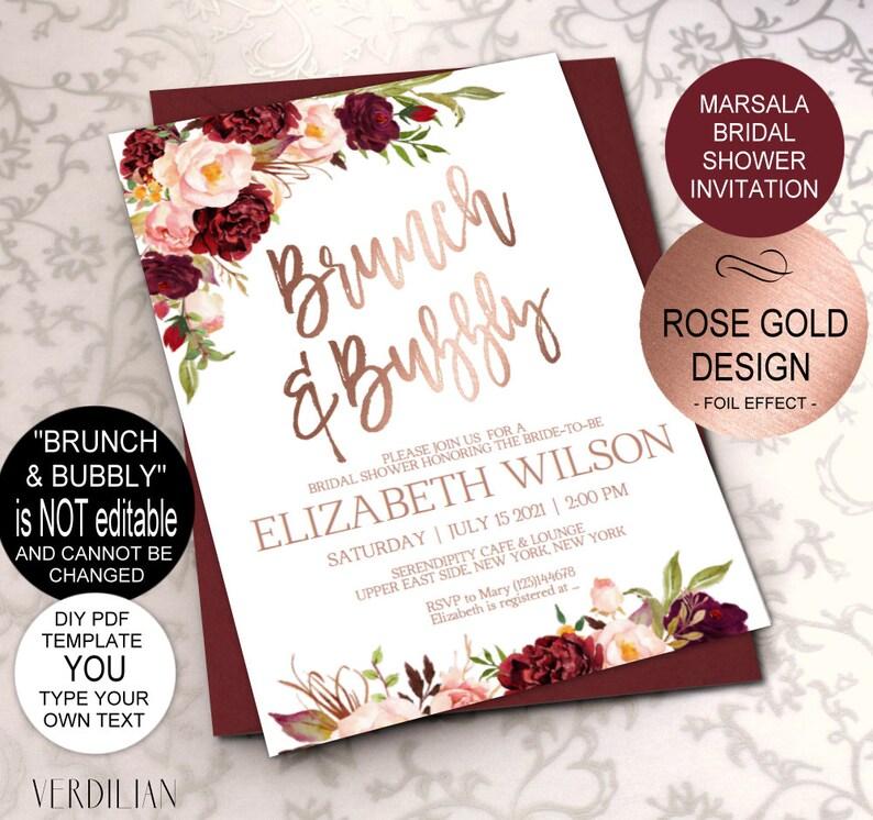 9b03d31e54a8 Brunch and Bubbly Bridal Shower Invitation Marsala Bridal