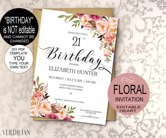 Blush Pink Birthday Invitation Template Rustic Floral