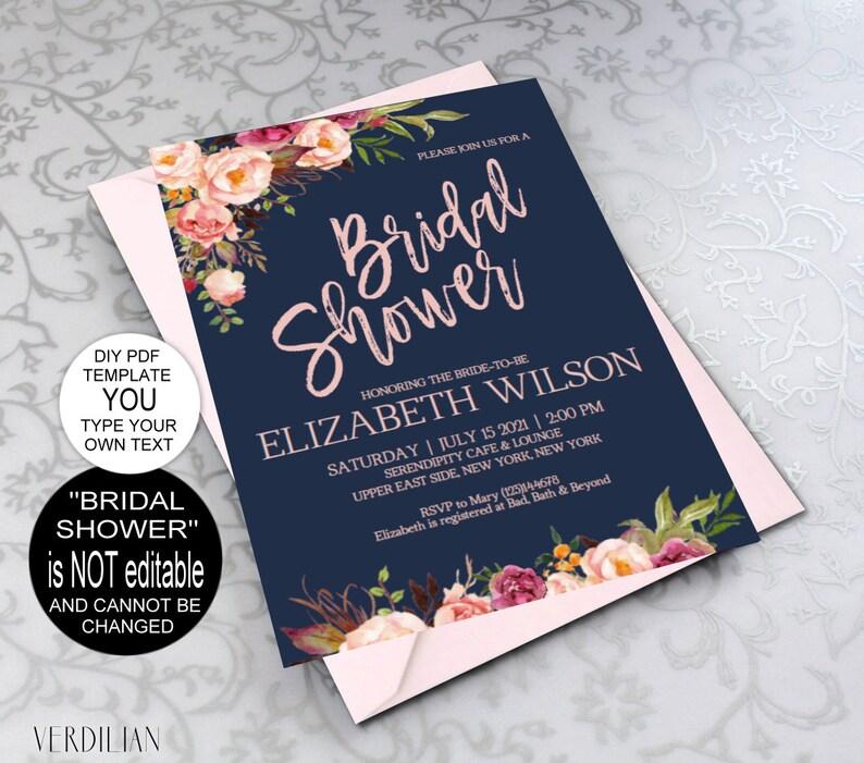 9ddab48a5614 Blush Navy Bridal Shower Invitation Floral Bridal Shower