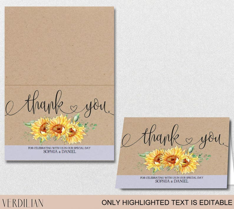 Sunflower Thank You Card template -Printable Folded Thank You Card-  Editable PDF - Kraft DIY PDF - Download Instantly| VRD151FP