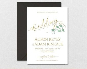 Rustic Wedding Invitation Template-Leaves Watercolor Wedding Invite-Printable Wedding Invitations-Editable PDF-DOWNLOAD Instantly| VRD152AF
