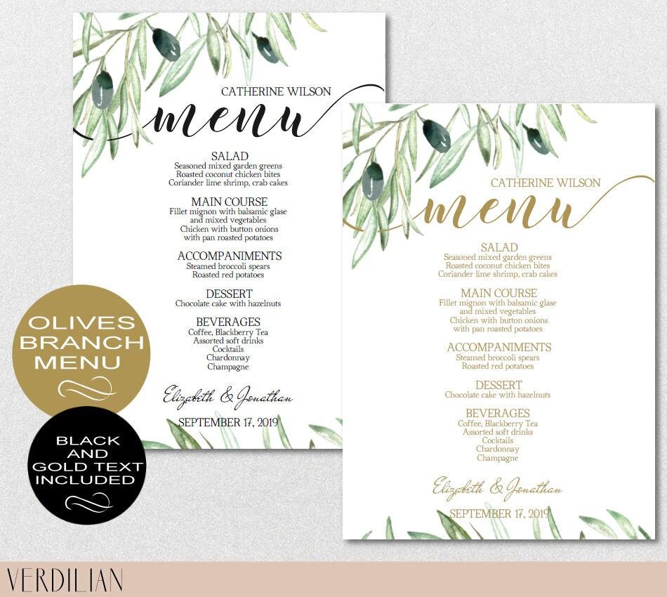 Rustic Wedding Menu Template Olive Branch Menu Template