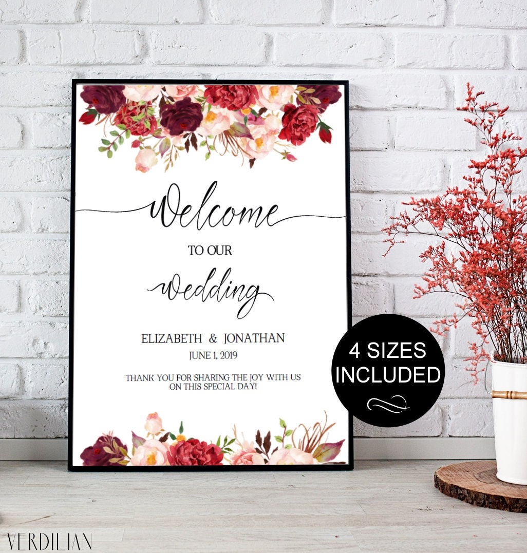 Wedding Welcome Sign Template Wedding Reception Greet Guests   Etsy