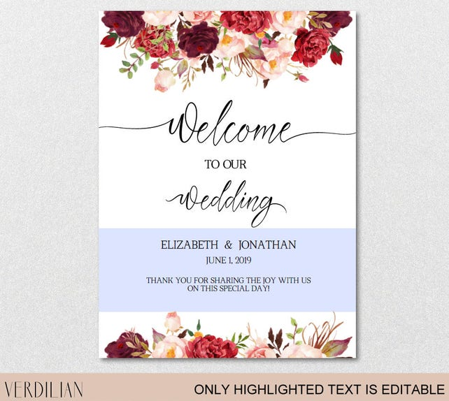 Wedding Welcome Sign Template Wedding Reception Greet Guests