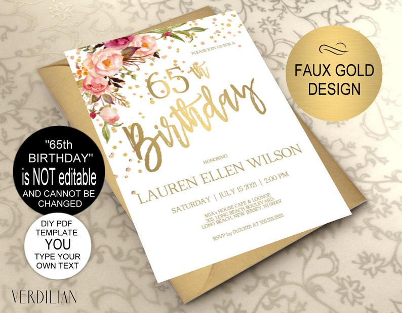 65th Birthday Invitation Blush Gold Floral Party