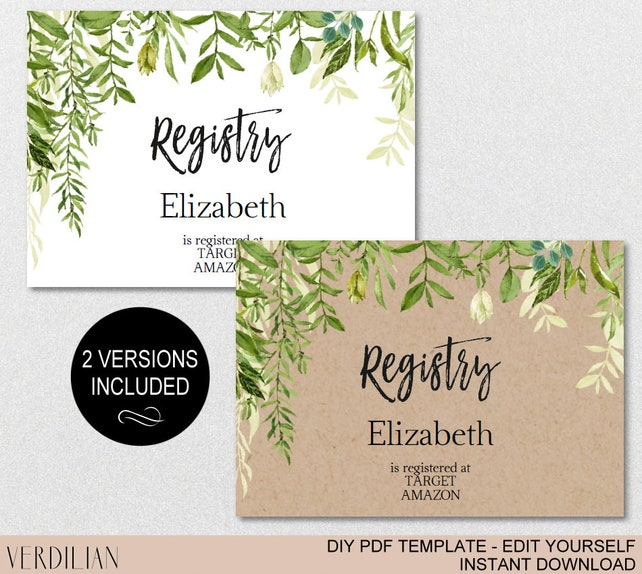 Registry Printable Card Baby Shower Registry Wedding Bridal Shower
