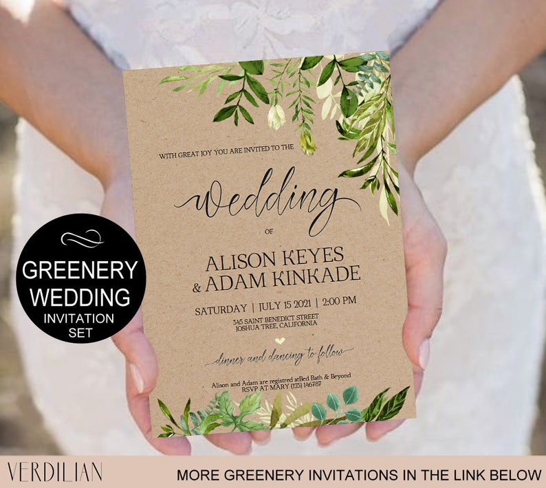 Rustic Wedding Invitation Template Greenery Watercolor Kraft DIY Editable PDF Download Instantly