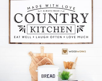 """SVG / DXF - Made With Love """"Country Kitchen"""" Always Fresh - Eat Well, Laugh Often, Love Much, Instant Download (Cute Farmhouse Vector Art)"""