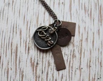 Personalized Hand Stamped Love Necklace