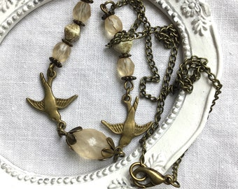 Elegant jewelry antiqued necklace Cottage antiqued brass romantic necklace