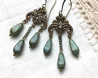 Turquoise chandelier antiqued brass dangle earrings vintage style czech glass lever back earrings