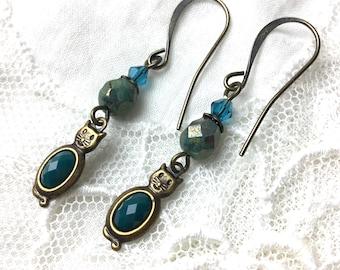 Turquoise cat antique brass dangle earrings blue vintage styled earrings
