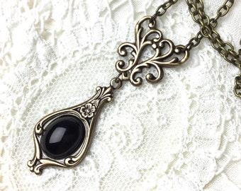 Black cabochon Art nouveau necklace , chandelier necklace art deco floral chandelier necklace