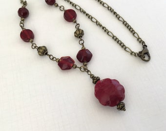 Red antiqued style necklace red glass beaded vintage style