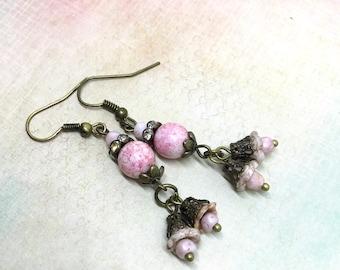 Pink flower earrings, vintage flower earrings, romantic brass earrings