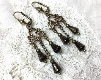Black chandelier antiqued brass dangle earrings vintage style czech glass lever back earrings