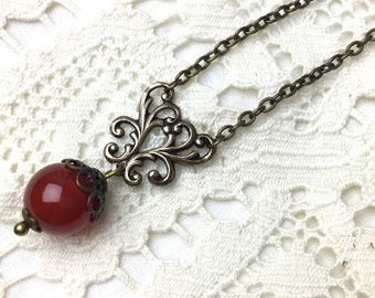 Red chandelier necklace victorian style antiqued brass necklace