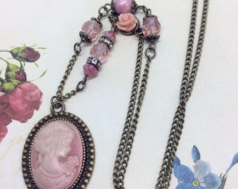 Pink antiqued victorian cameo necklace pink lady cameo necklace