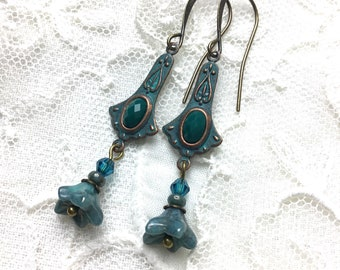 Blue flower dangle earrings antiqued brass floral lever back earrings