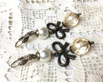 Ivory antique brass dangle earrings filigree vintage style swarovski pearl earrings
