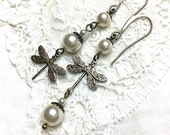 Asymmetrical dangle earrings mismatched dangle earrings antiqued dragonfly earrings