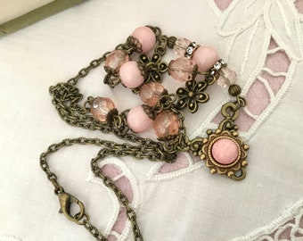 antiqued cottage style jewelry brass romantic necklace vintage style pink necklace