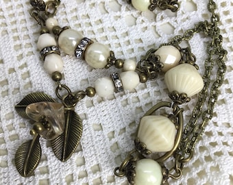 Ivory romantic brass necklace Beaded necklace ivory vintage styled necklace glass beaded flourish necklace