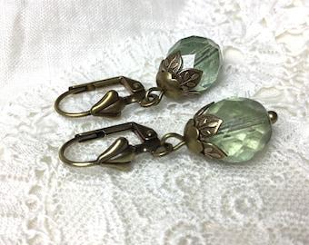 Green victorian style antiqued brass dangle earrings