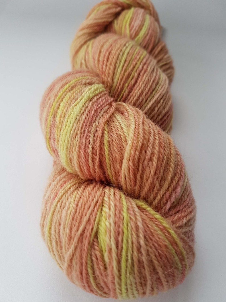 Handspun and Hand Dyed Yarn Rose Garden 3 ply Sport Weight Corriedale 320 yards