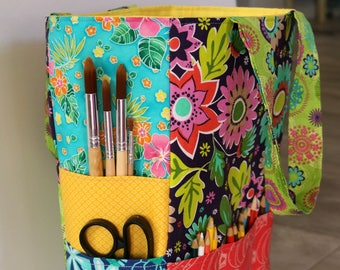 Bucket Project Bag, Colorful Art Tote, Project Bag for Knitting