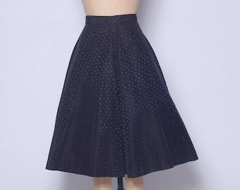 Vintage 50s black polka dot skirt / A line skirt / 50s flared skirt / pin up skirt