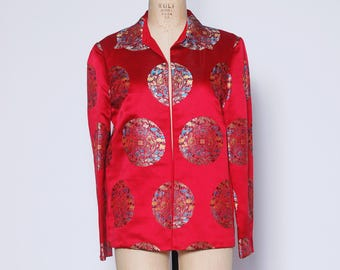 Red brocade Asian jacket / vintage 60s cheongasm jacket / satin Asian jacket / Asian mandala jacket