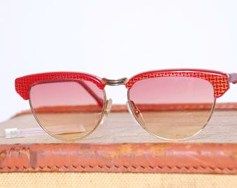 eccb5f322b2 Vintage 80s basket weave retro sunglasses   80s does 50s sunglasses   K   B  Italian sunglasses  vintage eyewear   pin up sunglasses