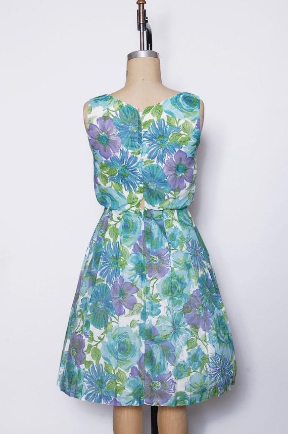 Vintage 50s aqua floral dress / pleated sundress … - image 5