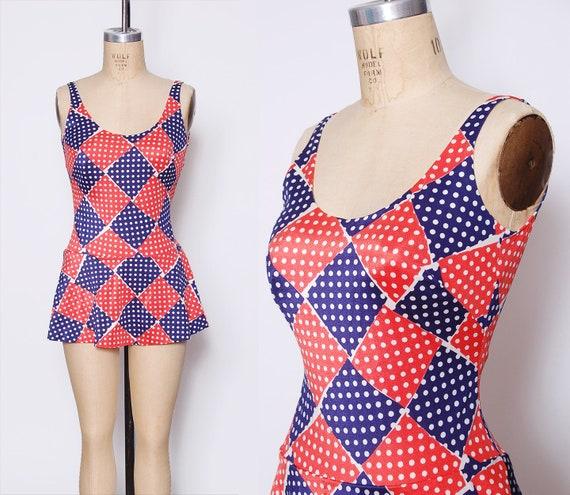 Vintage 60s one piece bathing suit / polka dot gra