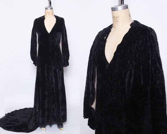 Vintage 1920s black velvet gown with train and cap