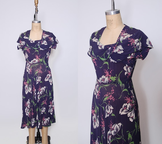 Vintage 1930s floral chiffon dress / 30s purple fl