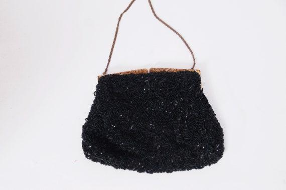 Vintage beaded handbag / 30s handbag / black filig