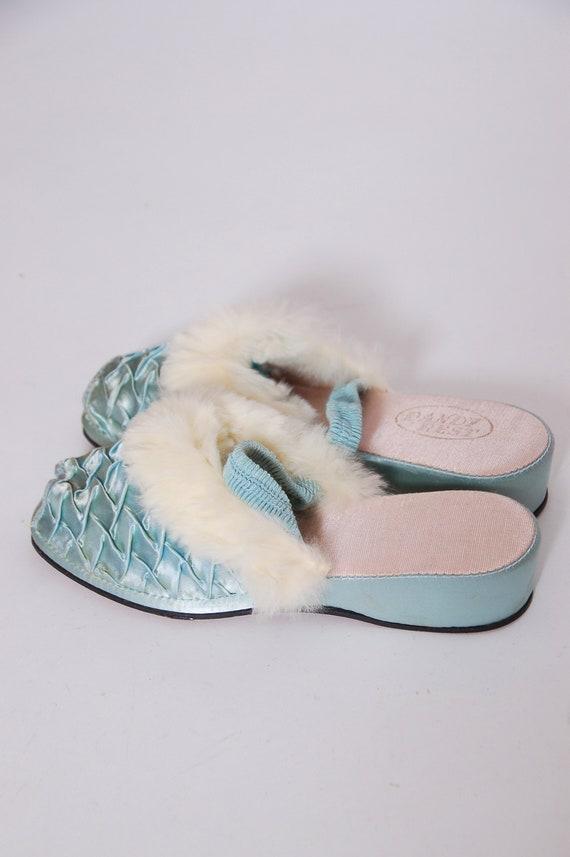 Vintage satin and rabbit fur slippers / blue satin